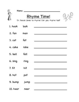 Dr. Seuss Rhyme Time