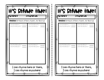 Dr. Seuss Rhyme Time - Fill in the Blank Activity
