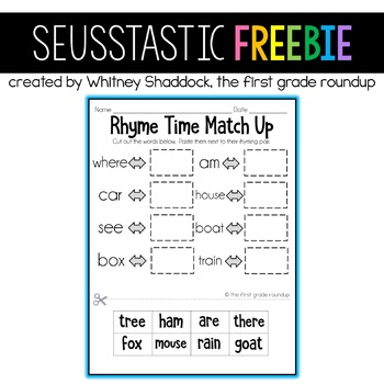 Seusstastic Rhyme Time Matchup FREEBIE