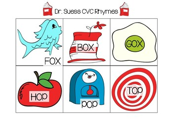 Dr. Seuss Rhyming Cards (CVC-Short Vowel)