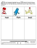 Dr Seuss Rhyming Words worksheet