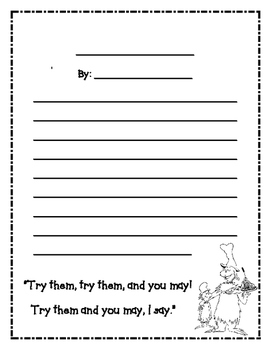 Dr. Seuss: Sam I Am, Green Eggs and Ham Writing Paper