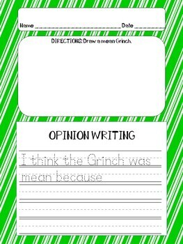 "Dr. Seuss ""Grinch"" OPINION Writing Center Activities"