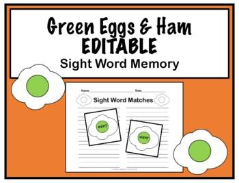 Dr Seuss Sight Word Memory EDITABLE Green Eggs Ham