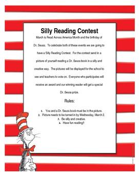 Dr. Seuss Silly Reading Contest Editable