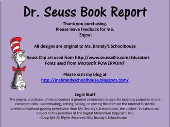 Dr. Seuss Simple Book Report