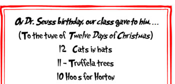 Dr. Seuss Song Lyrics (to tune of '12 Days of Christmas')