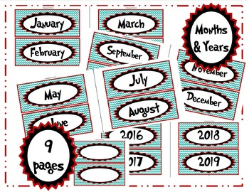 Dr. Seuss-Style Alphabet, Calendar & Number Cards/Labels Set