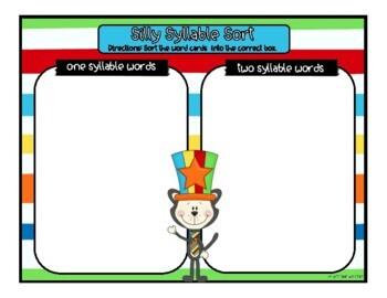 Dr. Seuss Syllable Sort - 2 Activities
