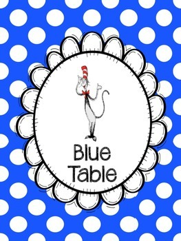 Dr. Seuss Table Signs-Six Colors