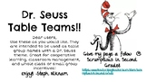 Dr. Seuss Table Teams