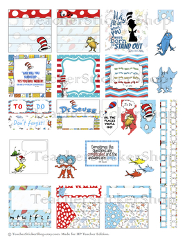 Dr. Seuss Teacher Sticker Printable for HP and EC Teacher Planners