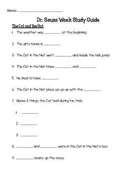 Dr Seuss The Cat In Hat And Green Eggs Ham Study Guide
