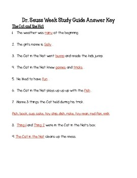 Dr. Seuss The Cat in the Hat and Green Eggs and Ham Study Guide