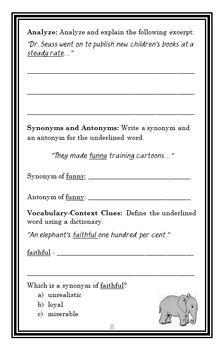 Dr. Seuss: The Great Doodler (Kate Klimo) Book Study / Comprehension  (19 pages)