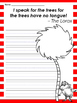 Dr. Seuss The Lorax Earth Day themed Writing Prompts and Lorax Mustache