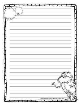 Dr. Seuss- The Lorax Writing Paper