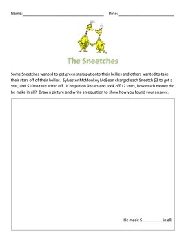 """Dr. Seuss: """"The Sneetches"""" Open-Ended Math Word Problem"""