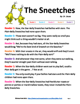 Dr. Seuss The Sneetches Readers Theater