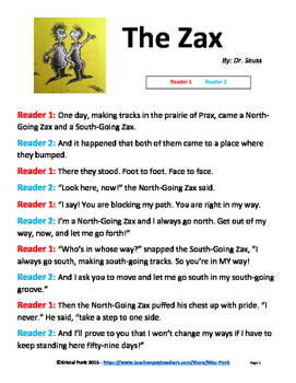 Dr. Seuss The Zax Readers Theater