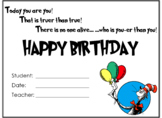 Dr. Seuss Theme Birthday Certificate