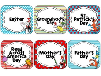 Dr. Seuss Theme Calendar Cards {EDITABLE}