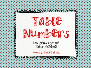 Dr. Seuss Theme Color Scheme Table Numbers