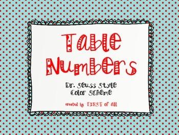 Dr. Seuss Theme Color Scheme Table Numbers