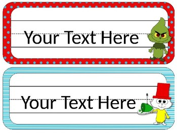 Dr. Seuss Theme Desk Tags/Name Cards {EDITABLE}