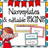 Nameplates   Editable Class Signs   Whimsical Classroom Decor