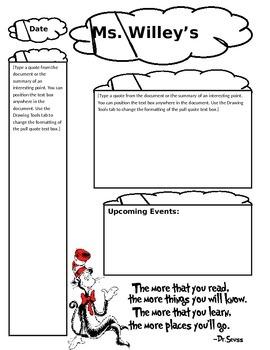 Dr. Seuss Theme Newsletter Template