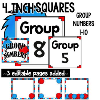 Table and Group Numbers-- Whimsical Theme Editable