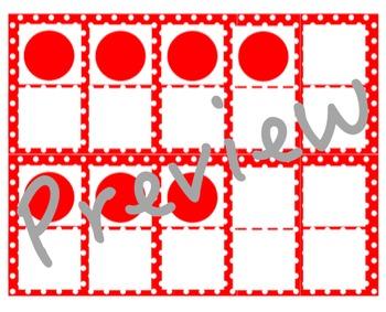 Red Polka Dot Ten Frames Cards
