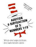 Dr. Seuss Themed Add and Subtract 3 Cards