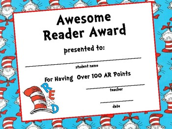 photo about Free Printable Reading Certificates called Dr. Seuss Themed Award Certificates