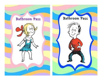 Dr. Seuss Themed Bathroom Pass