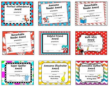 Dr. Seuss Themed Editable Awards