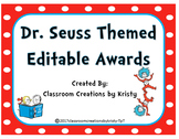 Dr. Seuss Themed Editable Awards