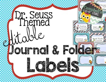 Dr Seuss Theme {Journal and Folder Labels}