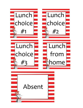Dr. Seuss Themed Lunch Choices