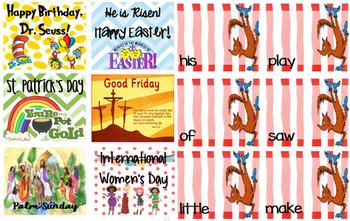 Dr. Seuss Themed - March Calendar Tags