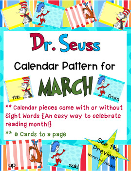 Dr. Seuss Themed - March Calendar Tags