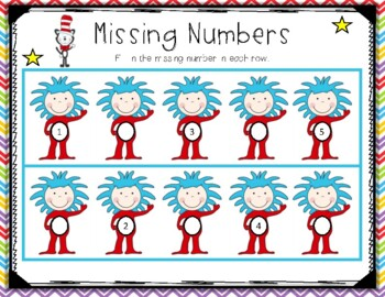 Silly Cat Missing Numbers in a Sequence: Common Core Aligned