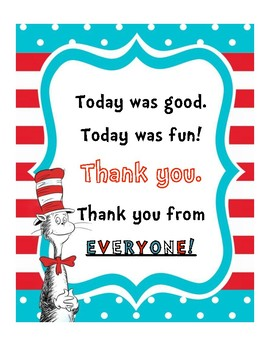 Dr. Seuss Themed Thank You