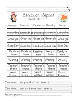 Dr. Seuss Themed Weekly Behavior Report