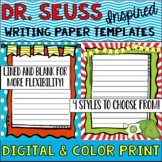 Dr. Seuss Themed Writing Paper Templates**Read Across America**-PDF and Digital