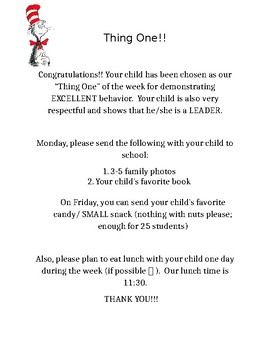 "Dr. Seuss ""Thing One"" of the Week- Student of the week"