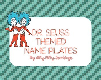 Dr. Seuss Things Teal and Red Name Plates