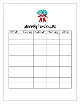 """Dr. Seuss """"Things"""" Weekly To Do List"""