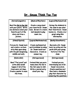 Dr. Seuss Think Tac Toe